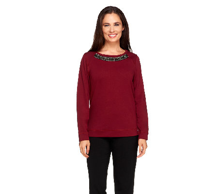 Susan Graver Weekend French Terry Embellished Sweatshirt