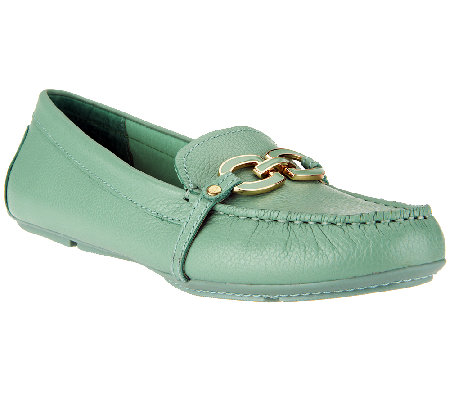 """As Is"" Isaac Mizrahi Live! Leather Moccasins with Enamel Links"