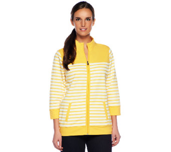 """As Is"" Denim & Co. Active French Terry Zip Front Striped Jacket - A258969"