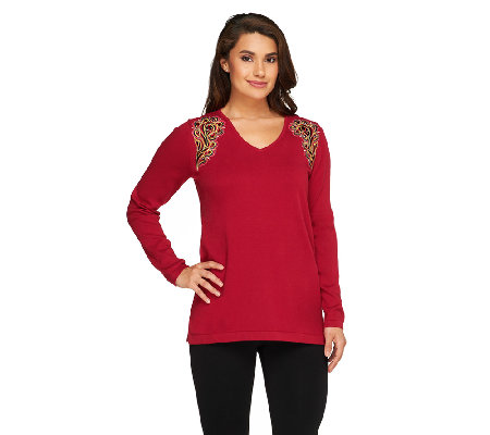 Bob Mackie's Long Sleeve Embellished Sweater with V-Neckline