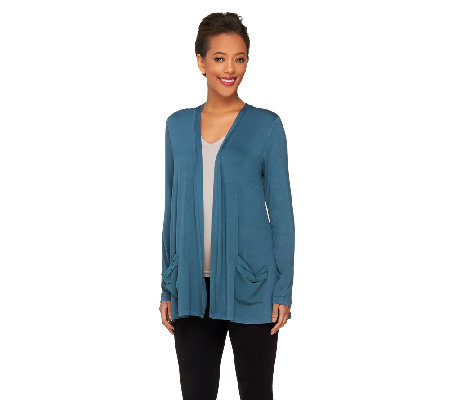 LOGO by Lori Goldstein Knit Cardigan with Chiffon Back