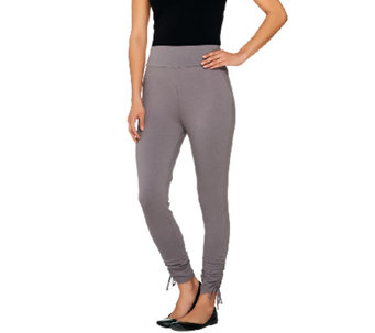 LOGO by Lori Goldstein Petite Crop Pants with Drawstring Seam - A262369