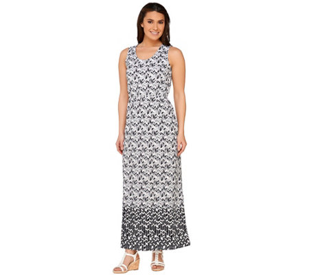 Liz Claiborne New York Petite Geo Border Print Maxi Dress