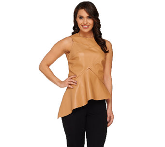 G.I.L.I. Sleeveless Faux Leather Peplum Top with Asymmetric Hem - A263969