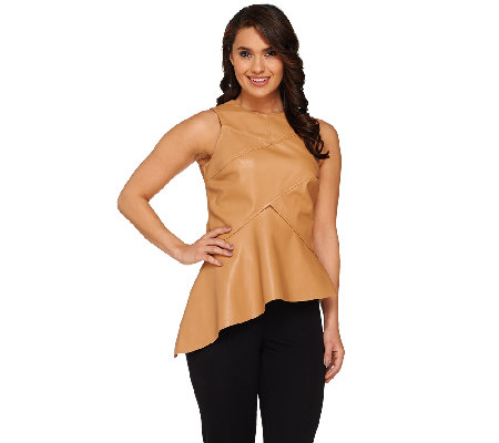 G.I.L.I. Sleeveless Faux Leather Peplum Top with Asymmetric Hem
