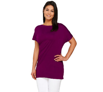 Lisa Rinna Collection Short Sleeve Side Draped Knit Top - A264569