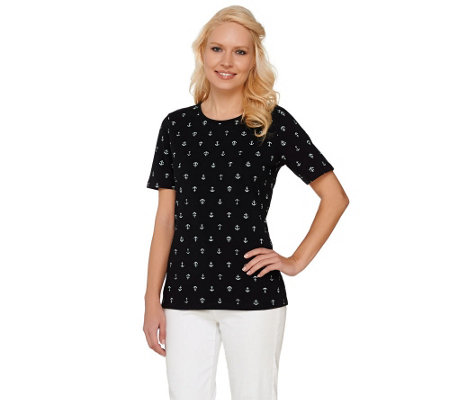 Denim & Co. Scoop Neck Short Sleeve Mini Anchor Print T-Shirt