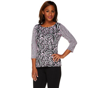 Bob Mackie's 3/4 Sleeve Painterly Floral Stripe Knit Top - A265369