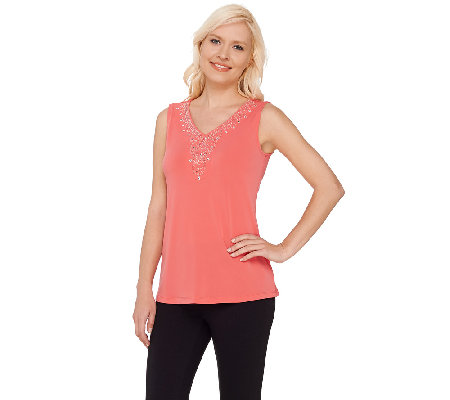 Susan Graver Artisan Liquid Knit V-Neck Sleeveless Top
