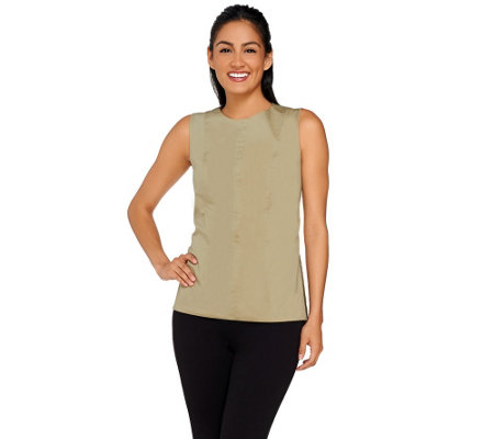 G.I.L.I. Sleeveless Peplum Back Top with Seam Detail