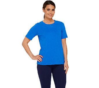 Denim & Co. Active Short Sleeve T-shirt w/ Mesh Detail - A266869