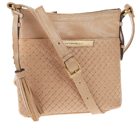 Tignanello Distressed Leather Embossed Weave RFID Crossbody