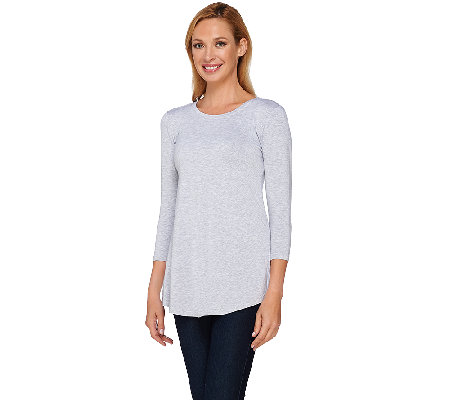 LOGO Layers by Lori Goldstein 3/4 Sleeve Knit Top with Shirttail Hem