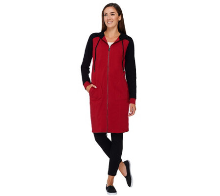Linea Leisure by Louis Dell'Olio Zip Front Hooded Dress