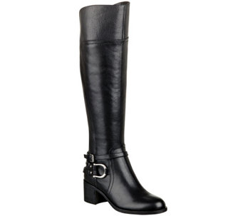 """As Is"" Marc Fisher Leather Riding Boots w/ Hardware Accent - Kierra - A268169"