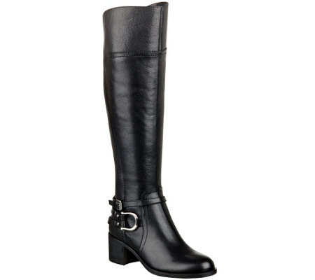 """As Is"" Marc Fisher Leather Riding Boots w/ Hardware Accent - Kierra"