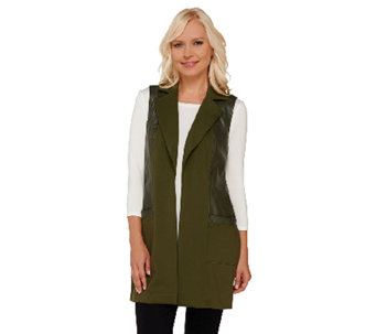 G.I.L.I. Ponte and Faux Leather Open Front Vest - A268269