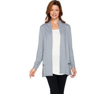 LOGO Lounge by Lori Goldstein French Terry Cardigan with Zipper Detail - A269969