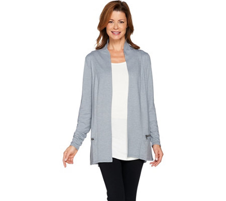 LOGO Lounge by Lori Goldstein French Terry Cardigan with Zipper Detail