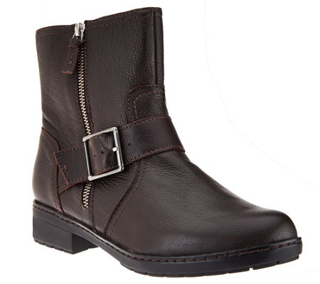 Clarks Leather Ankle Moto Boots with Buckle - Merrian Lynn