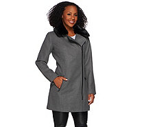 Isaac Mizrahi Live! Motorcycle Coat w/ Faux Fur Collar - A270669