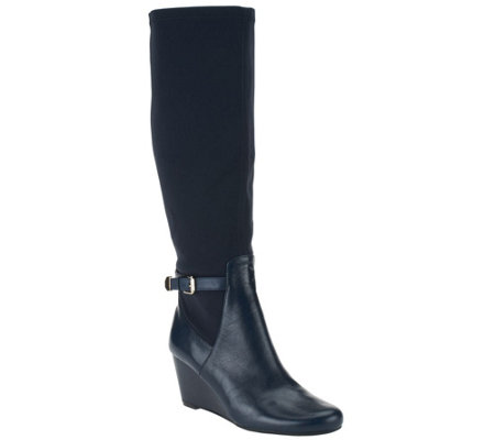 Isaac Mizrahi Live! Wide Calf Leather and Stretch Fabric Wedge Boots