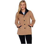 Bob Mackie's Fleece Jacket with Quilted Faux Leather Detail - A271369