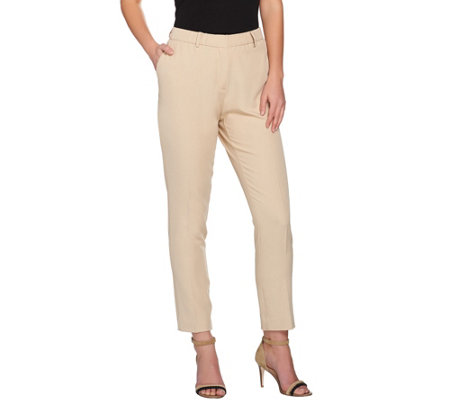 H by Halston Stretch Twill Fly Front Ankle Pants