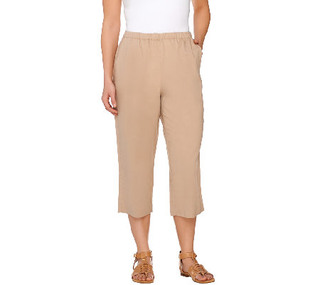 """As Is"" Susan Graver Linen Blend Comfort Waist Slim Capri Pants"