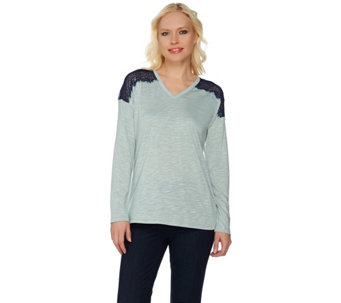 Linea by Louis Dell'Olio Novelty Knit Top with Lace Detail - A273869