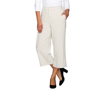 H by Halston Stitched Pleat Wide Leg Crop Trousers - A274569