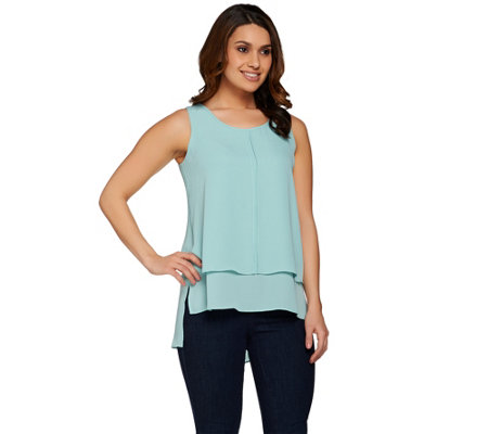 Lisa Rinna Collection Sleeveless Hi-Low Hem Tiered Top