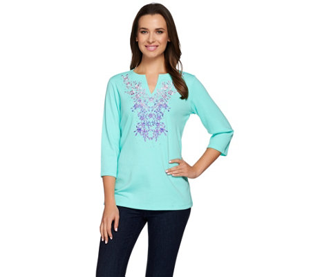 Quacker Factory Ombre Floral Split Neck 3/4 Sleeve T-shirt