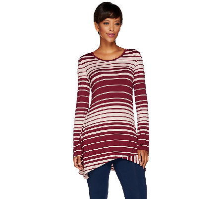 """As Is"" LOGO by Lori Goldstein Long Sleeve Scoop Neck Stripe Knit Top"
