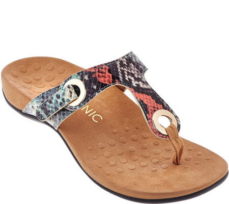 Vionic Orthotic Adjustable T-Strap Sandals - Lana