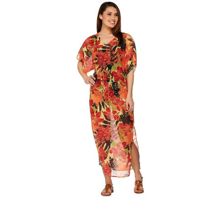 Denim & Co. Beach Floral Printed Caftan with Waist Tie