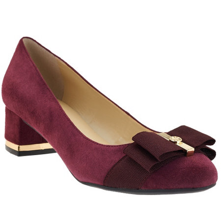 """As Is"" Isaac Mizrahi Live! Suede Pumps w/ Bow Detail"