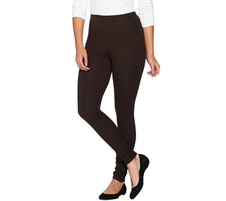 Women with Control Regular Knit Leggings w/ Faux Leather Ankle Snaps