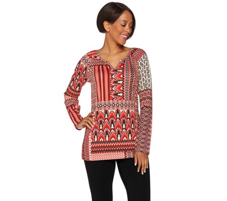 Denim & Co. Mixed Print Long Sleeve Peasant Top