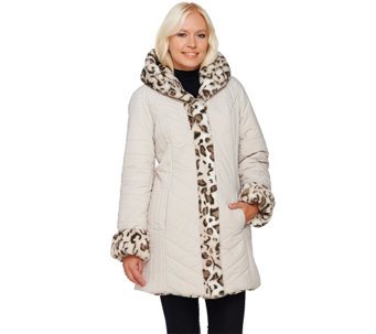 """As Is"" Dennis Basso Faux Fur Water Resistant Puffer Reversible Coat - A280069"