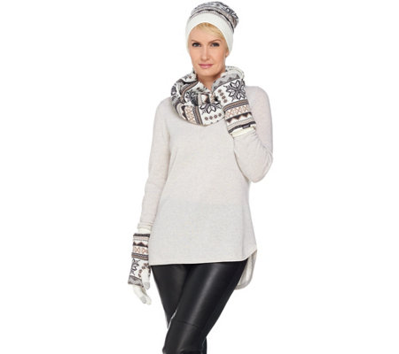 MUK LUKS Reversible 3-in-1 Scarf, Hat & Glove Set