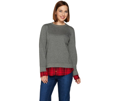C. Wonder Brushed French Terry Sweatshirt with Plaid Hem