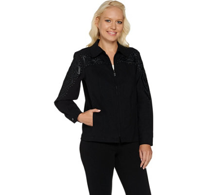 Bob Mackie's Faux Leather Applique Moleskin Jacket