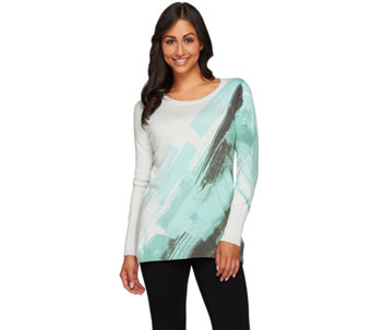 """As Is"" LOGO by Lori Goldstein Printed Cotton Cashmere Long Sleeve Sweater - A282469"