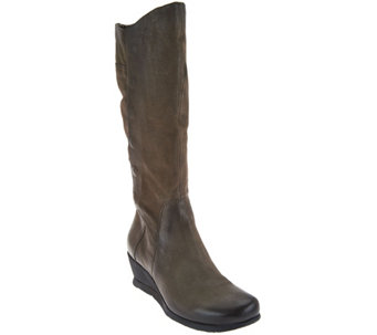 Miz Mooz Tall Leather Wedge Boots with Side Zip - Marybeth - A282869