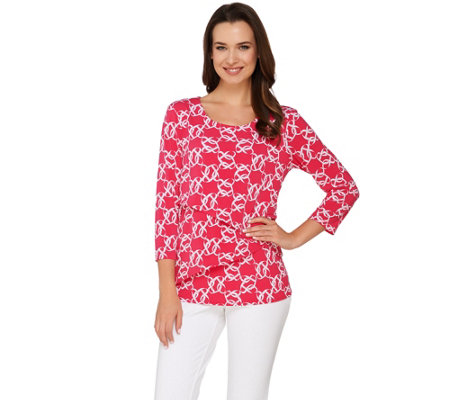 """As Is"" Susan Graver Printed Liquid Knit 3/4 Sleeve Tiered Top"