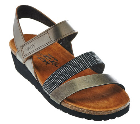 Naot Leather Cross-strap Sandals with Rivets - Krista