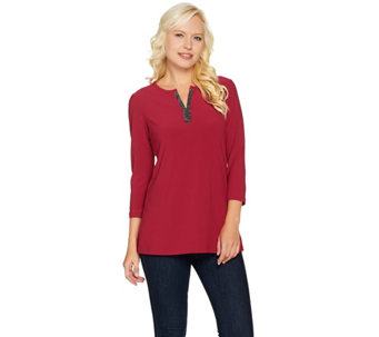 Susan Graver Textured Liquid Knit Tunic with Rhinestone Trim - A284769
