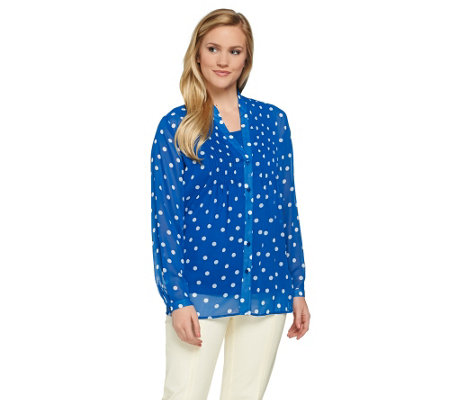 """As Is"" Susan Graver Polka Dot Sheer Chiffon BF Shirt Set"