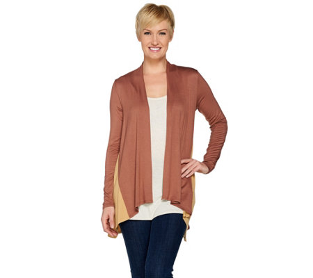LOGO Layers by Lori Goldstein Knit Cardigan w/ Color-Block Side Godets